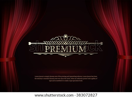 Premium Dark red curtain scene gracefully. Cover with vertical motion blur and text premium. Like curtains in theater. Elegance vector backdrop with vintage sign