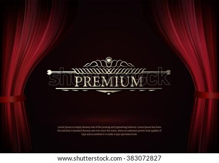 premium dark red curtain scene...