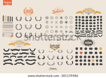 Premium design elements. Great for retro vintage logos. Starbursts, frames and ribbons Designers Collection