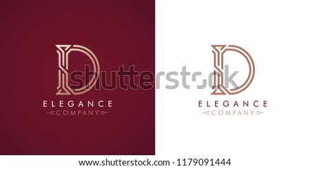 Premium design Logo with letter D in two color variations. Beautiful Logotype  for luxury company branding. Elegant and stylish identity template in red and gold . Zdjęcia stock ©
