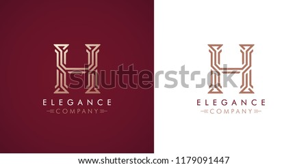 Premium design Logo with letter H in two color variations. Beautiful Logotype  for luxury company branding. Elegant and stylish identity template in red and gold .