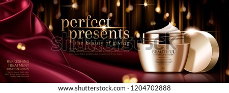 Premium face cream banner ads with scarlet satin and bokeh glistening background in 3d illustration