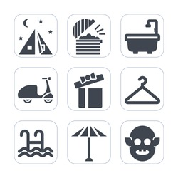 Premium fill icons set on white background . Such as fiction, summer, box, ufo, pool, kitchen, sport, food, fashion, japan, celebration, umbrella, alien, present, hanger, bicycle, ride, toilet, coffee