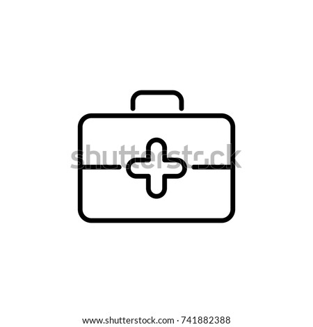 Premium first aid kit icon or logo in line style. High quality sign and symbol on a white background. Vector outline pictogram for infographic, web design and app development.