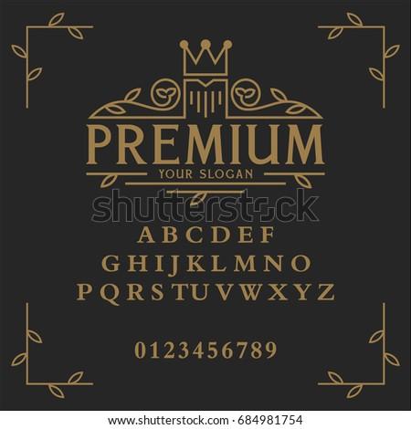 Premium font. Premium vector logo