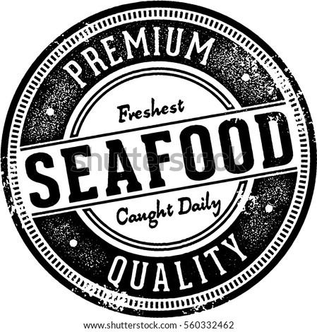 Premium Fresh Seafood Vintage Stamp