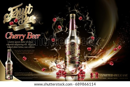 Premium fruit beer with cherries and floating drink in 3d illustration, isolated on dark background