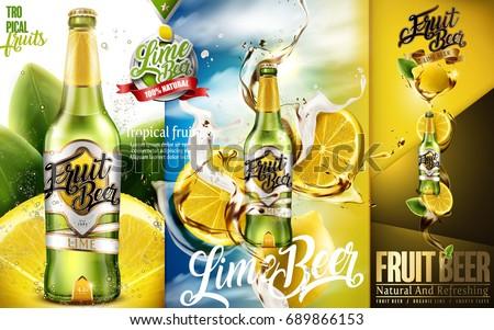 Premium fruit beer with sliced lime and splashing drink in 3d illustration, modern design for advertising