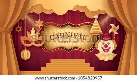 premium gold curtains stage...