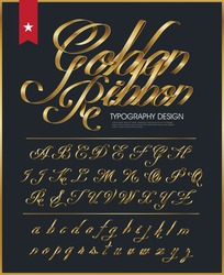 premium golden ribbon font design with luxury pattern