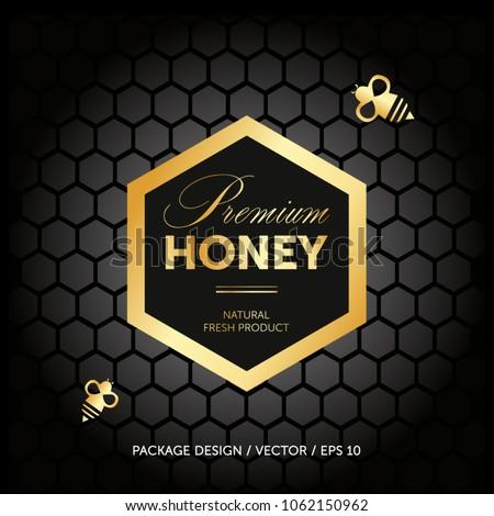 Premium honey packaging concept. Advertising layout. Bee, honey cells.