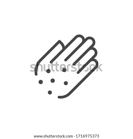 Premium Icon of Hand with Irritate. Skin Diseases, Psoriasis, Allergies, Itching, Eczema Line Label. Personal hygiene Concept. Vector Pictogram Isolated for Web and App in Outline Style.