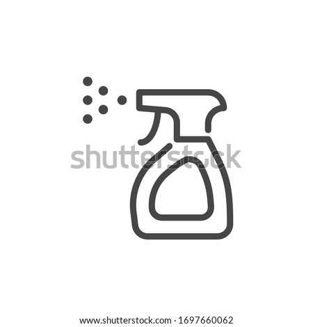 Premium Icon on Anti-Bacterial Alcohol Agent, Sanitizer. Such Line Sign as Bottle Spray. Custom Vector Icon Household Chemicals in Outline Style. Cleaning and Disinfection.