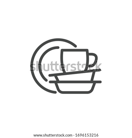 Premium Icon on Dishes, Crockery, Tableware, Utensil, Dinnerware, and Dishwasher, Dish Wash. Such Line Sign as Plates and Cup. Custom Vector Icon for Web and App in Outline Style. Editable Stroke.