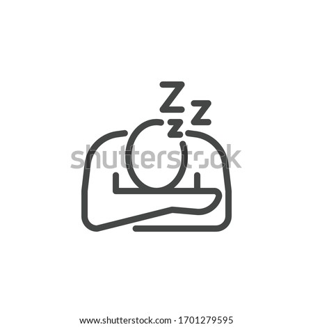 Premium Icon on Symptoms Coronavirus Infection, Fatigue and Burnout Sleeping at Work, No Energy. Such Line Sign as Sleepy Man. Custom Vector Icon for Web and App in Outline Style. Photo stock ©