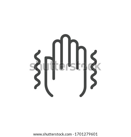 Premium Icon on Trembling, Symptoms Illness Pneumonia, Coronavirus, Mental Disorders. Such Line Sign as Trembling Hand. Custom Vector Icon for Web and App in Outline Style. Photo stock ©