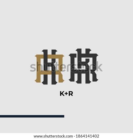 Premium KR,RK,K,Rinitial letter monogram vintage style with gold and black color on grey background Stock fotó ©