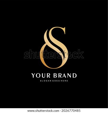 premium letter O and S logo. The initials of the yellow O and S logo are luxurious and simple Zdjęcia stock ©