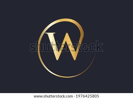 Premium letter W logo with golden design. Elegant W letter logo corporate identity vector. Zdjęcia stock ©