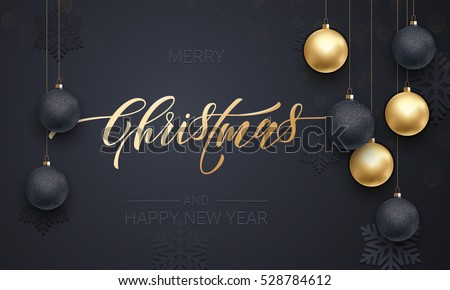 Premium luxury Christmas background for holiday greeting card. Golden decoration ornament with Christmas ball on vip black background with snowflake pattern. Gold calligraphy lettering New Year