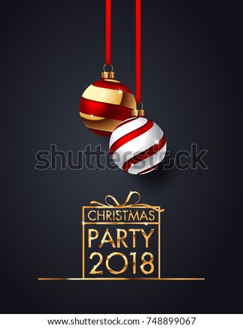 Premium luxury Christmas background for holiday greeting card. Golden decoration ornament with Christmas ball on vip black background