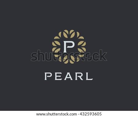 Premium monogram letter P initials logo. Universal symbol icon vector design. Luxury abc leaf logotype.