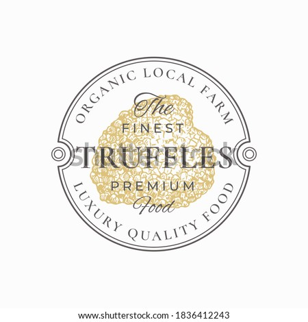 Premium Mushrooms Abstract Sign, Symbol or Logo Template. Hand Drawn Golden Gradient Truffle with Typography. Edible Plant Vector Emblem Concept in a Frame Badge. Isolated. Foto stock ©
