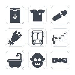 Premium outline, fill icons set on white background . Such as alien, sign, fiction, download, elegance, website, transportation, mascara, flower, success, fashion, style, toilet, progress, clothes