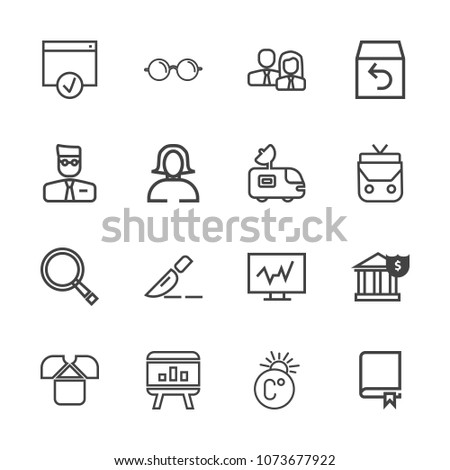 Premium outline set of icons containing fahrenheit, glasses, worker, page, team, operation, template, clinic, people. Simple, modern flat vector illustration for mobile app, website or desktop app