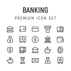 Premium pack of banking line icons. Stroke pixel perfect symbols or objects. Money, cash, piggy bank and other elements
