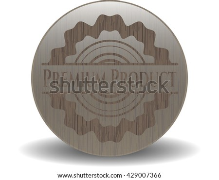 Premium Product badge with wooden background