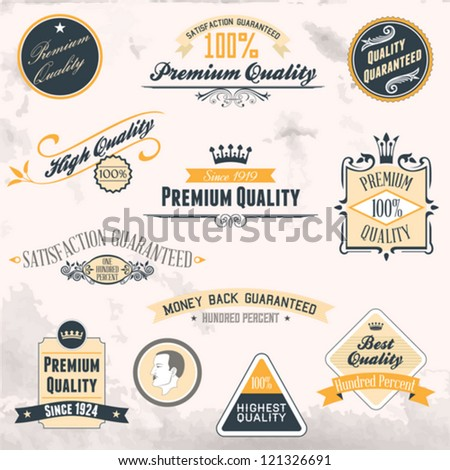 Premium Quality and Guarantee Labels collection with retro vintage