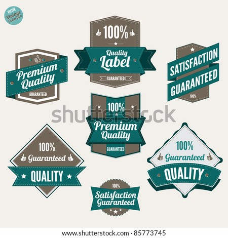 Premium Quality and Satisfaction Guarantee labels  with retro vintage design