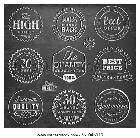 Premium Quality Badges and Labels on Chalkboard