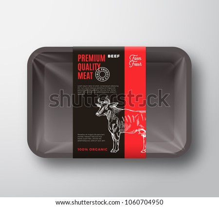 Premium Quality Beef Meat Packaging Design Layout with Label Stripe. Abstract Vector Food Plastic Tray Container with Cellophane Cover. Modern Typography and Hand Drawn Cow Silhouette. Isolated.