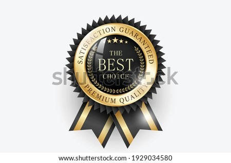 Premium quality  Best choice medal. Realistic golden - black label - badge, best choice with ribbon. Realistic icon isolated on transparent background. Vector illustration EPS10