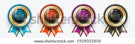 Premium quality Best choice medals set. Realistic golden labels - badges, best choice with ribbon. Realistic icons isolated on transparent background. Vector illustration EPS10