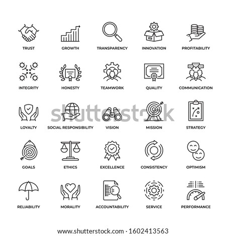 Premium Quality Core Values icon set. This unique style outline icon set contains such icons as Trust, Honest, Quality, Ethics and so on