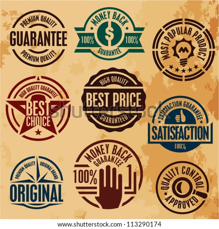 premium quality guarantee stamps labels set collection