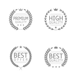 Premium quality, High quality, Best offer, Best quality. Award label set