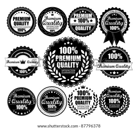 Premium Quality Labels Collection - eleven design elements with retro vintage design - stock vector
