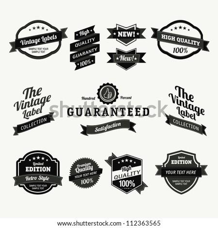 Premium Quality Labels - Collection of retro bi-colours vintage labels with several slogans: Best Choice, Premium Quality