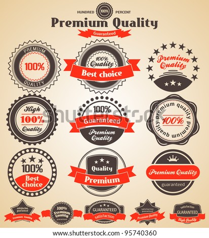 Premium Quality Labels. Design elements with retro vintage design - stock vector