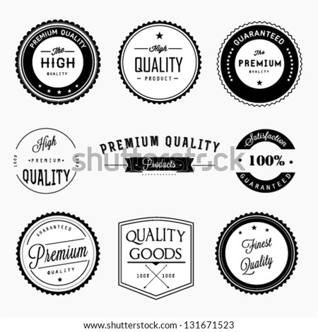 Premium quality labels set