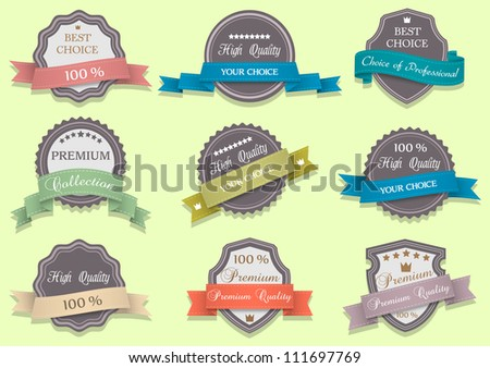 Premium Quality labels.Vector set - stock vector