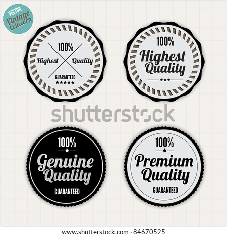 Premium Quality Labels  with clean retro vintage design