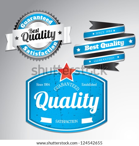 premium quality labels with removable grunge effect in blue color