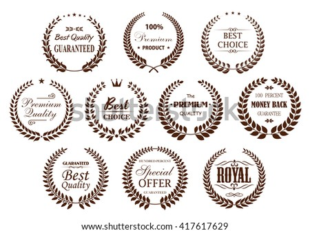 Premium quality laurel wreaths with branches, arranged into circle frames with text Best Choice and Special Offer, Premium Product and Money Back Guarantee, adorned by  crowns and vintage dividers