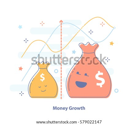 Premium quality line Icon concept of Compound interest, added value, financial investments stock market or future income growth. Growing money bags. Flat light banking vector icon.