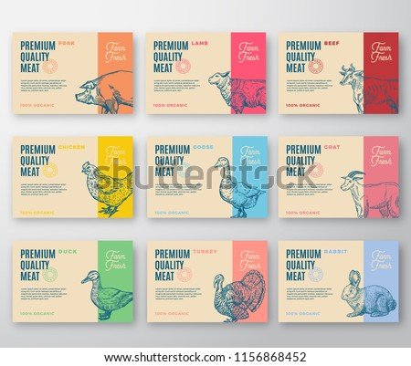 Premium Quality Meat and Poultry Labels Bigger Set. Abstract Vector Labels Packaging Design. Modern Typography and Hand Drawn Animals Silhouette Background Layouts. Isolated.